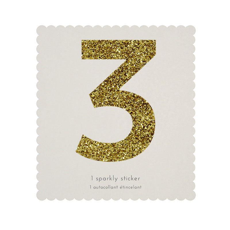 Chunky Gold Glitter Three Sticker -  Party Supplies - MM-Meri Meri UK - Putti Fine Furnishings Toronto Canada
