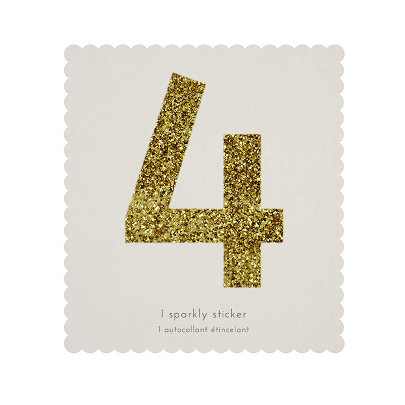 Chunky Gold Glitter Four Sticker -  Party Supplies - MM-Meri Meri UK - Putti Fine Furnishings Toronto Canada