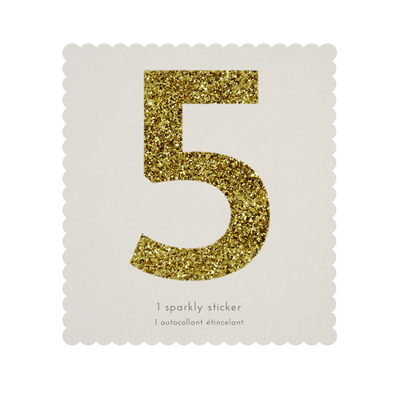 Chunky Gold Glitter Five Sticker -  Party Supplies - MM-Meri Meri UK - Putti Fine Furnishings Toronto Canada