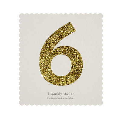 Chunky Gold Glitter Six Sticker -  Party Supplies - MM-Meri Meri UK - Putti Fine Furnishings Toronto Canada