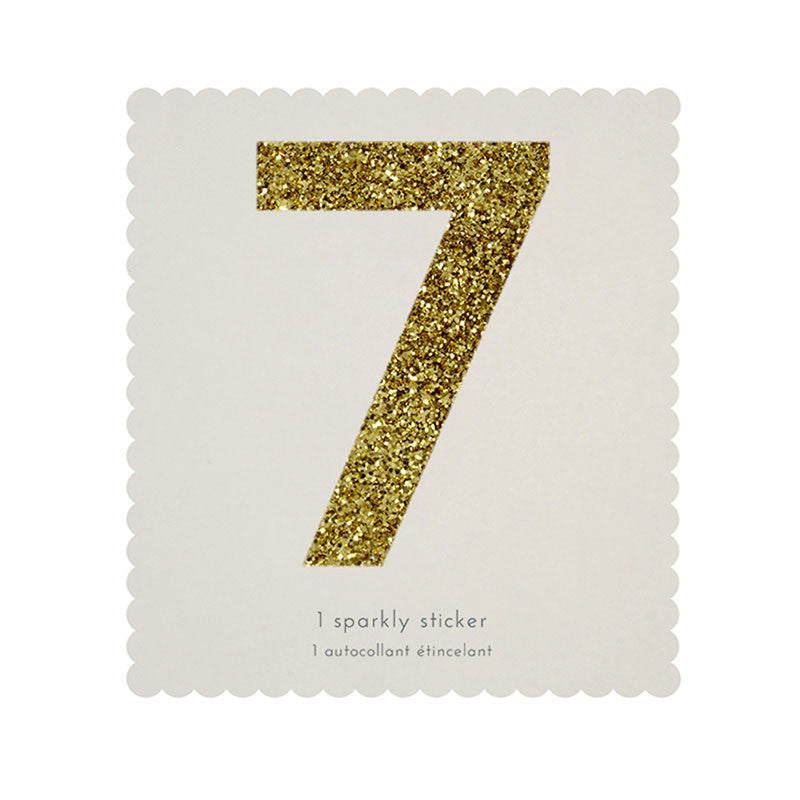 Chunky Gold Glitter Seven Sticker -  Party Supplies - MM-Meri Meri UK - Putti Fine Furnishings Toronto Canada