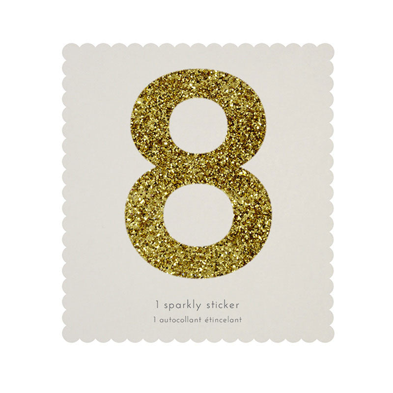 Chunky Gold Glitter Eight Sticker -  Party Supplies - MM-Meri Meri UK - Putti Fine Furnishings Toronto Canada