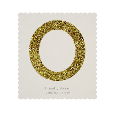 Chunky Gold Glitter Zero Sticker -  Party Supplies - MM-Meri Meri UK - Putti Fine Furnishings Toronto Canada