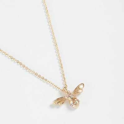 Fable Gold Pave Bee Short Necklace