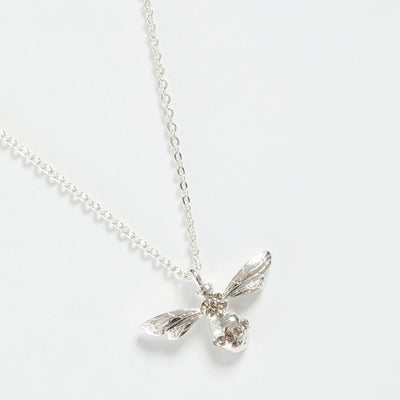 Fable Silver Pave Bee Short Necklace