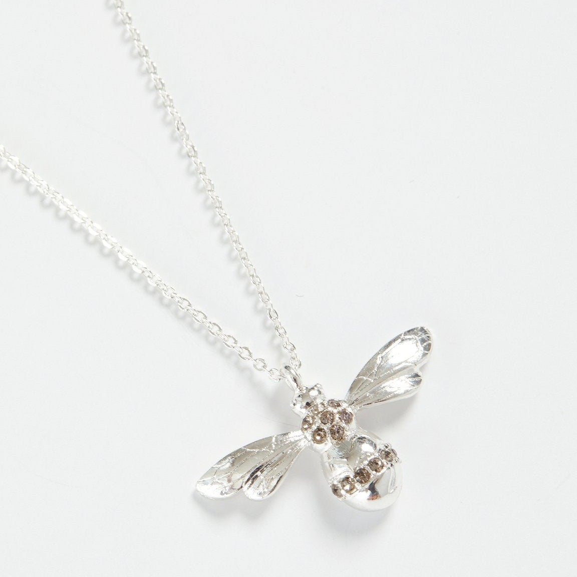 Fable Silver Pave Bee Long Necklace | Putti fine Fashions