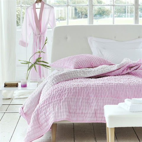 Designers Guild Quilt Chenevard Peony and Soft Pink-Soft Furnishings-DG-Designers Guild-Standard Quilt 230 x 230cm-Putti Fine Furnishings
