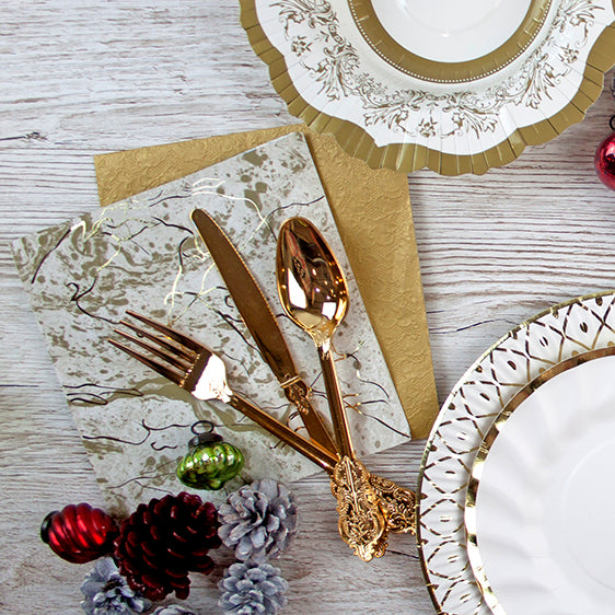 Gold Marble Napkins - Lunch