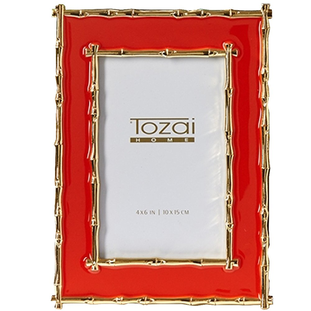 Gold Bamboo Border Orange Enamel Photo Frame
