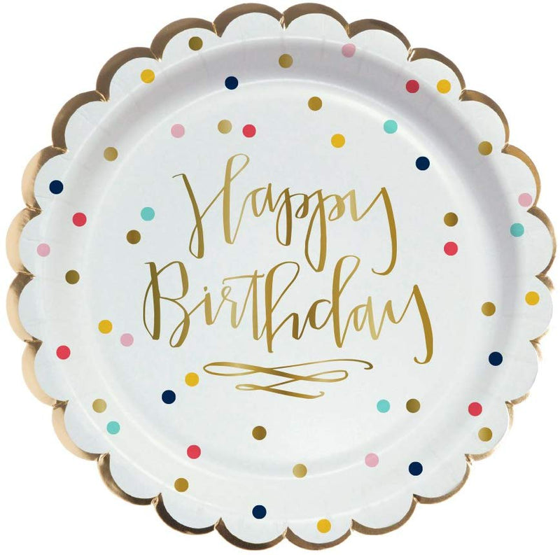 """Happy Birthday"" Polka Dot Paper Plate"