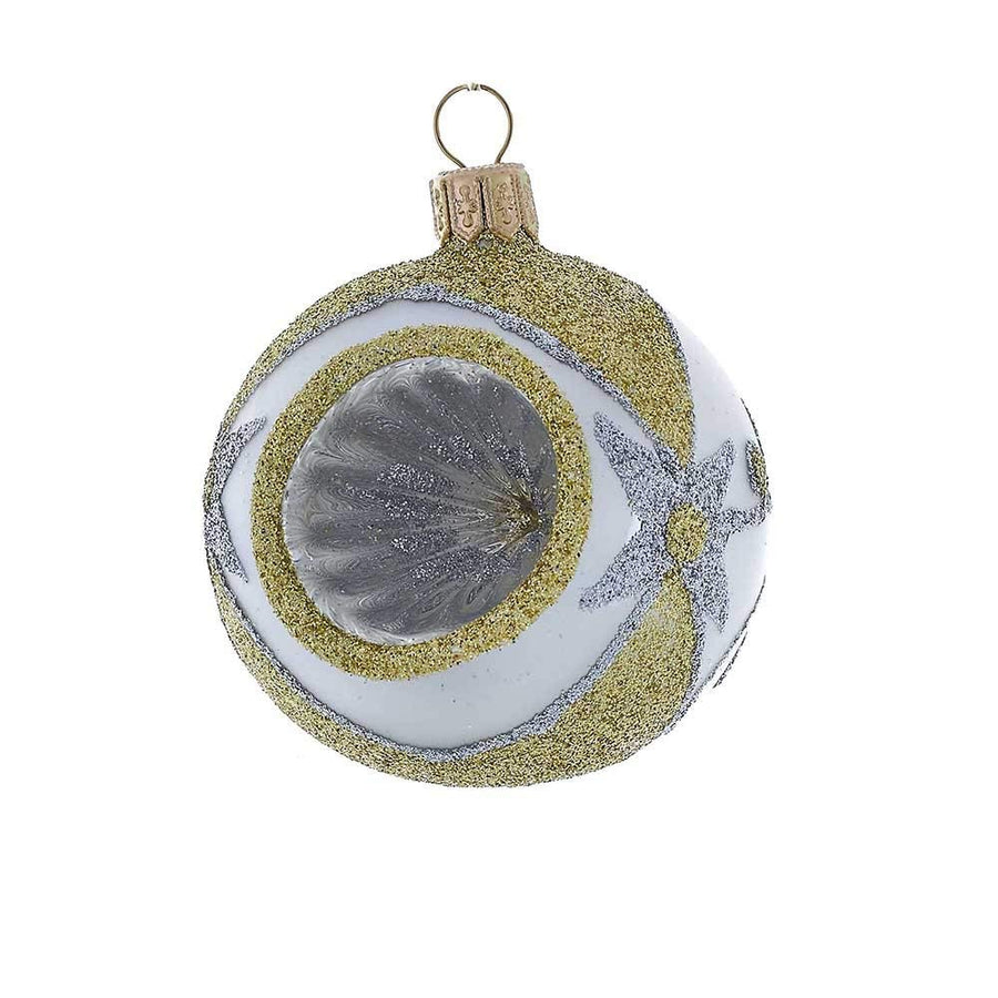 Kurt Adler Silver and Gold Reflector Ball Ornaments - Box of 4