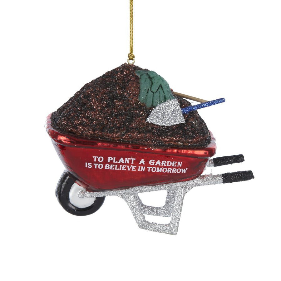 Kurt Adler Wheelbarrow Glass Ornament