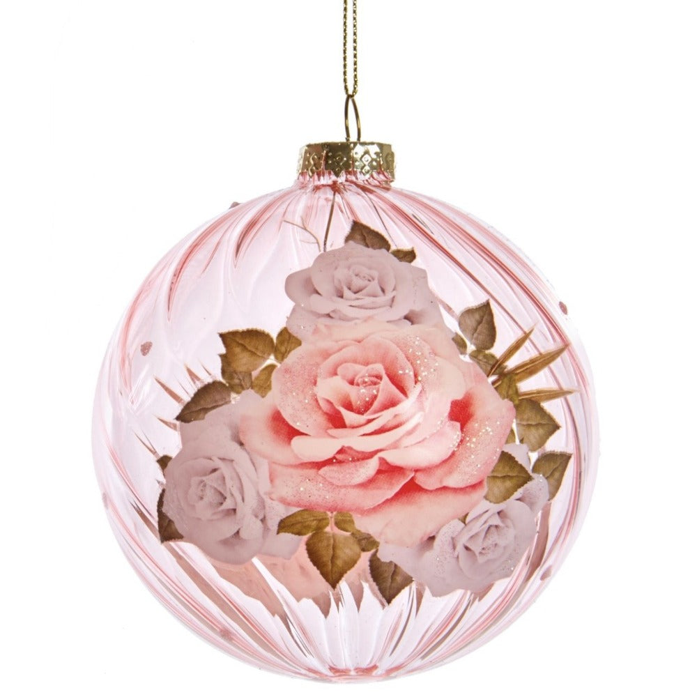 Kurt Adler Boho Chic Rose Decal Pink Glass Ball Ornament