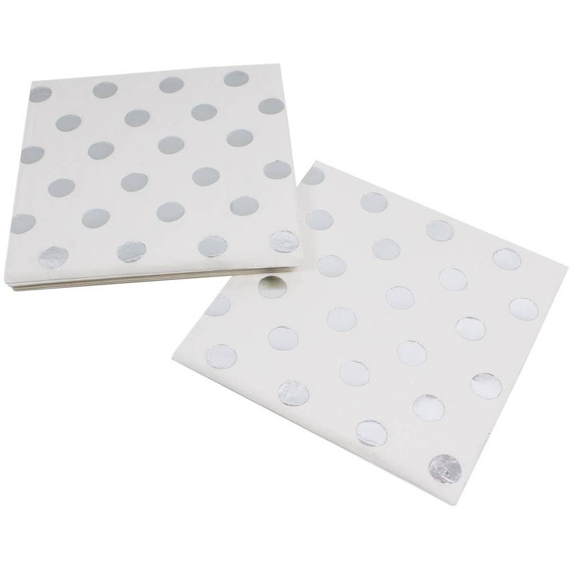 Polka Dot Napkins -Silver Foil, GR-Ginger Ray UK, Putti Fine Furnishings