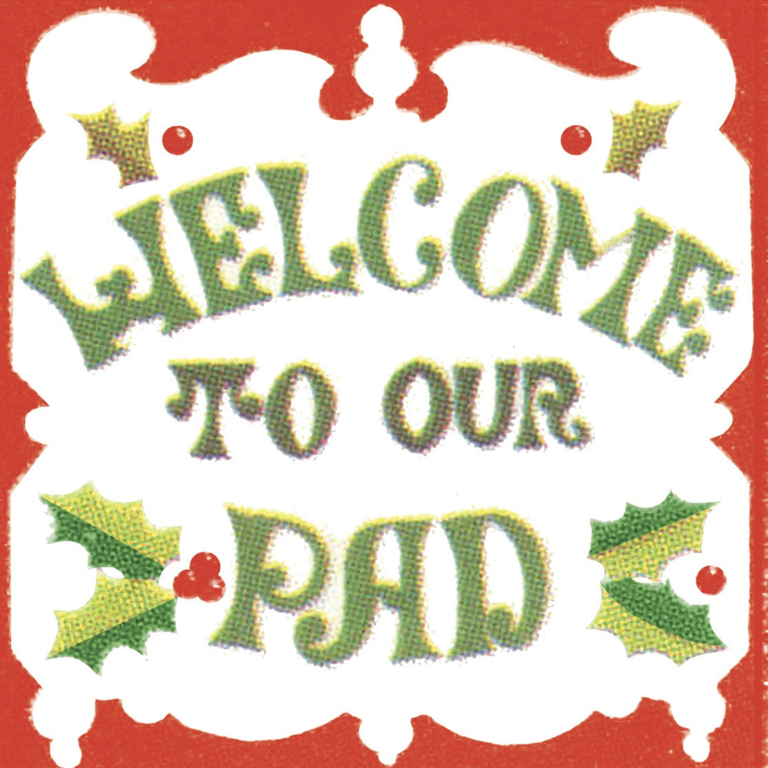 "Elise Retro 70's ""Welcome to Our Pad""  Beverage Napkins"