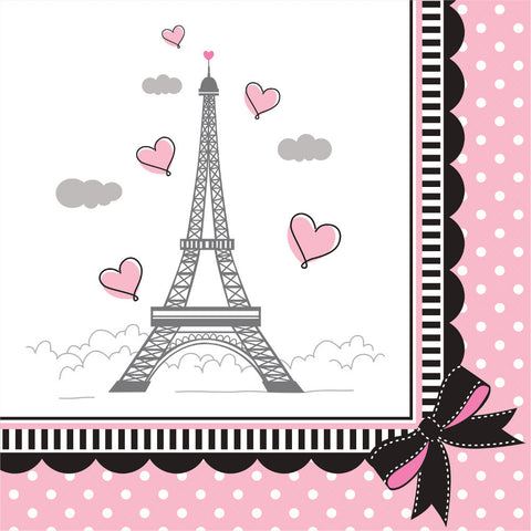 """Party in Paris"" Beverage Napkin-Party Supplies-CC-Creative Converting-Putti Fine Furnishings"