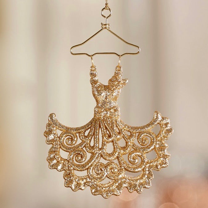 Gold Dress on Hanger Ornament, GC-Gift Craft, Putti Fine Furnishings