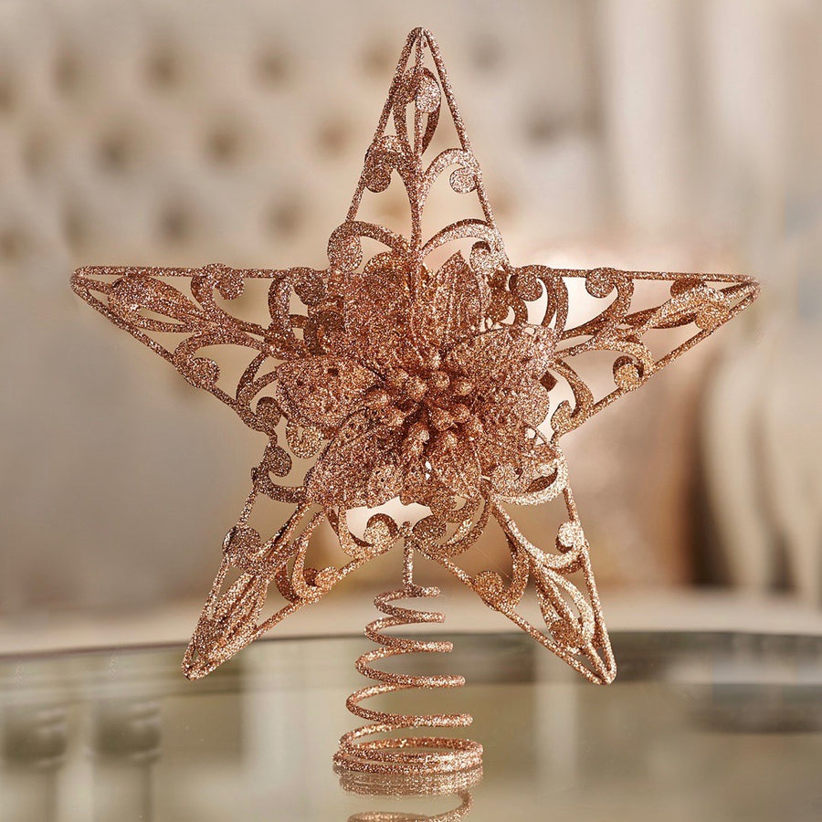 Gold Metal Star Design Tree Topper