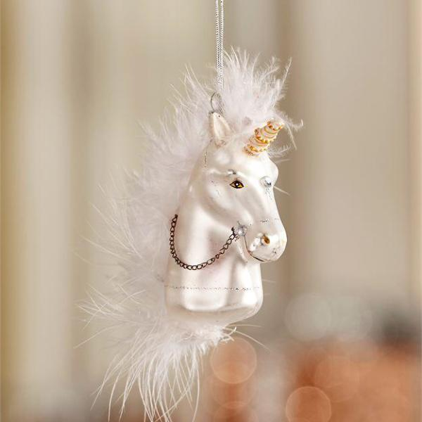 Glass Unicorn Head Ornament
