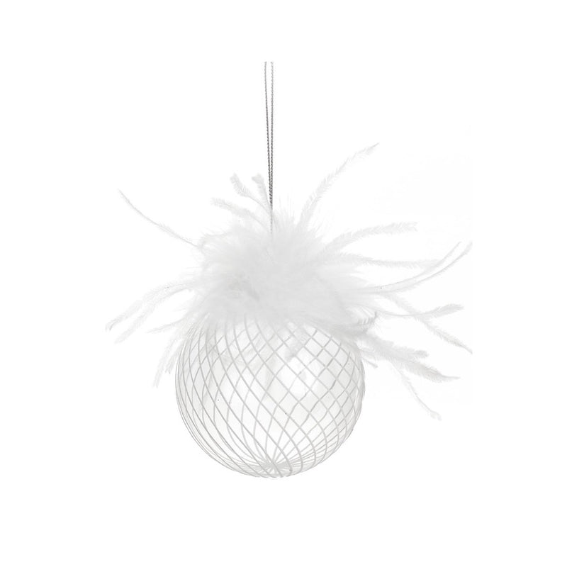 Clear with White Glitter and Feathers Glass Ball Ornament  | Putti Christmas Canada