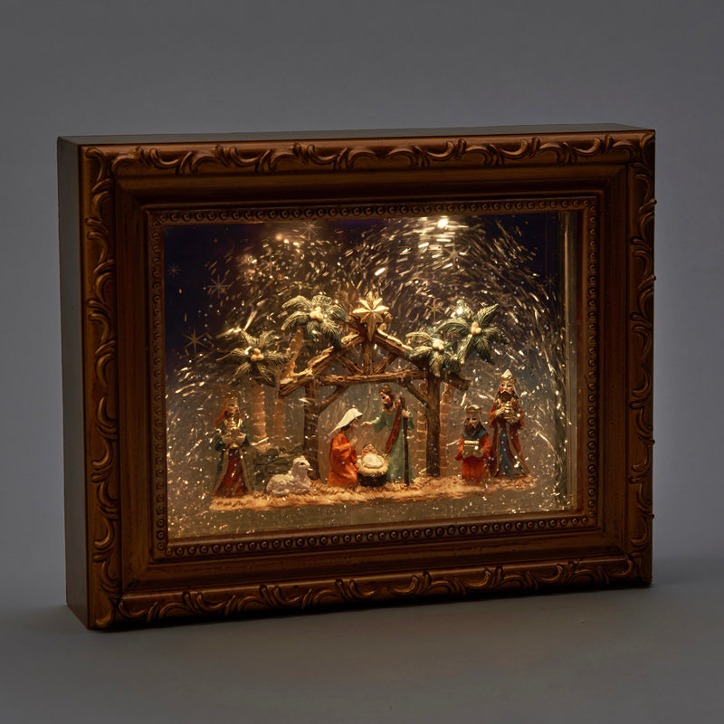 Perpetual Snow Frame with Nativity Scene and LED Light | Putti Christmas Celebrations