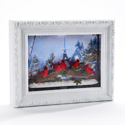 Perpetual Snow Frame with Cardinal Scene and LED Light | Putti Christmas