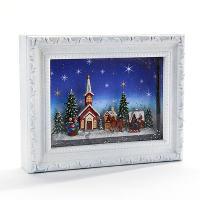 Victorian Village Frame with Light | Putti Christmas Celebrations