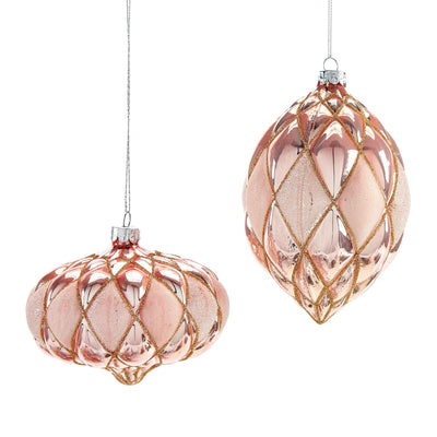 Blush Pink Molded Diamond Pattern Glass Double Point Ornament | Putti Christmas Celebrations