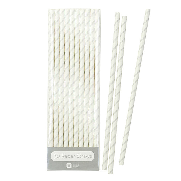 Mix & Match Silver Striped Straws, TT-Talking Tables, Putti Fine Furnishings