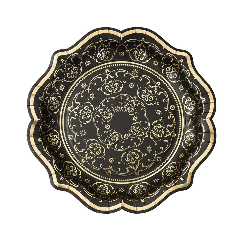 Baroque Black & Gold Medium Paper Plates