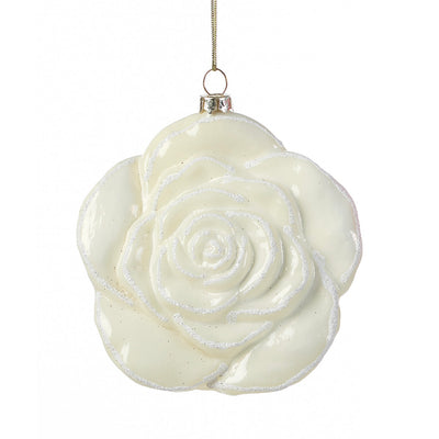 White Rose Glass Ornament