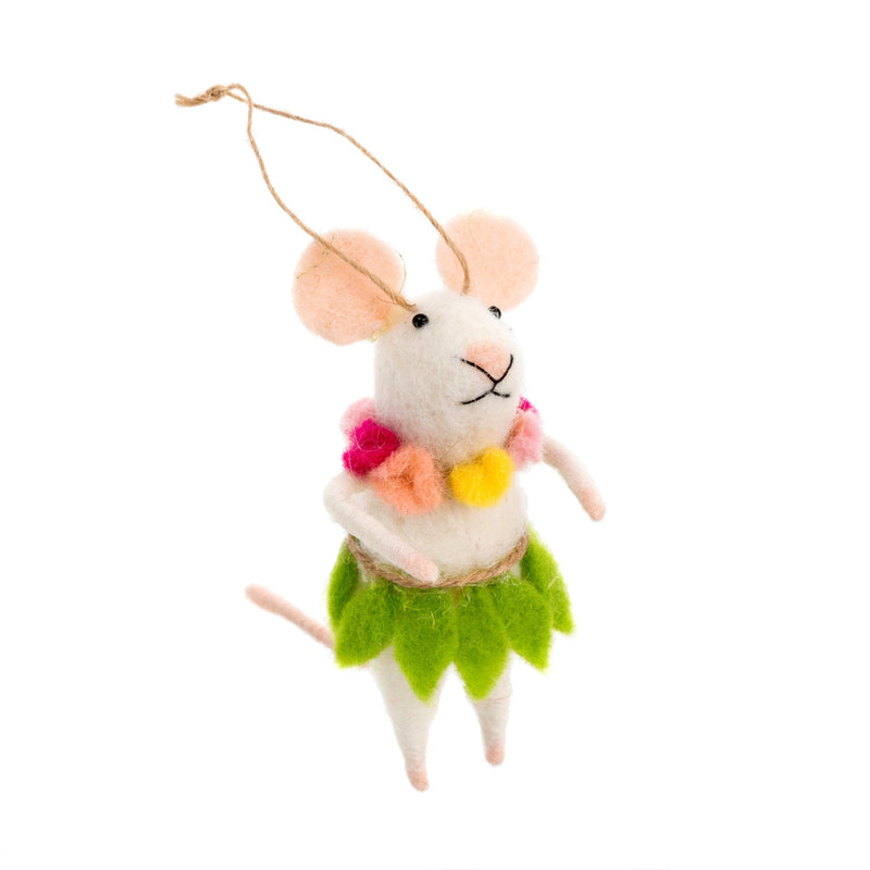"""Hula Hallie"" Felted Mouse Ornament 