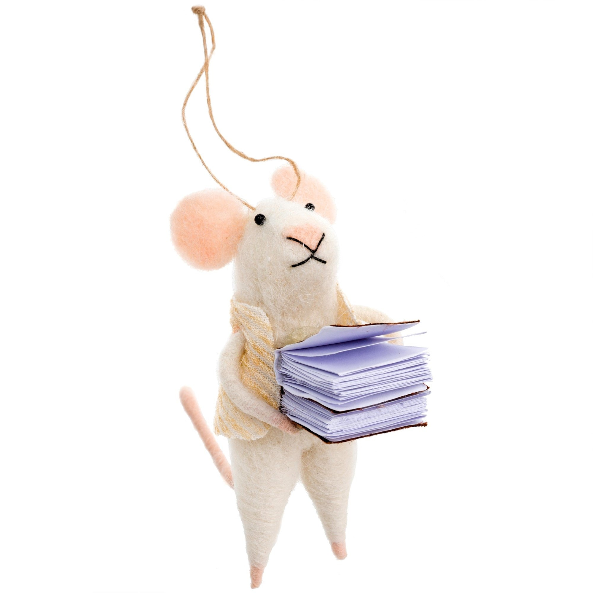 """Bookworm Bob"" Felted Mouse Ornament, IT-Indaba Trading, Putti Fine Furnishings"