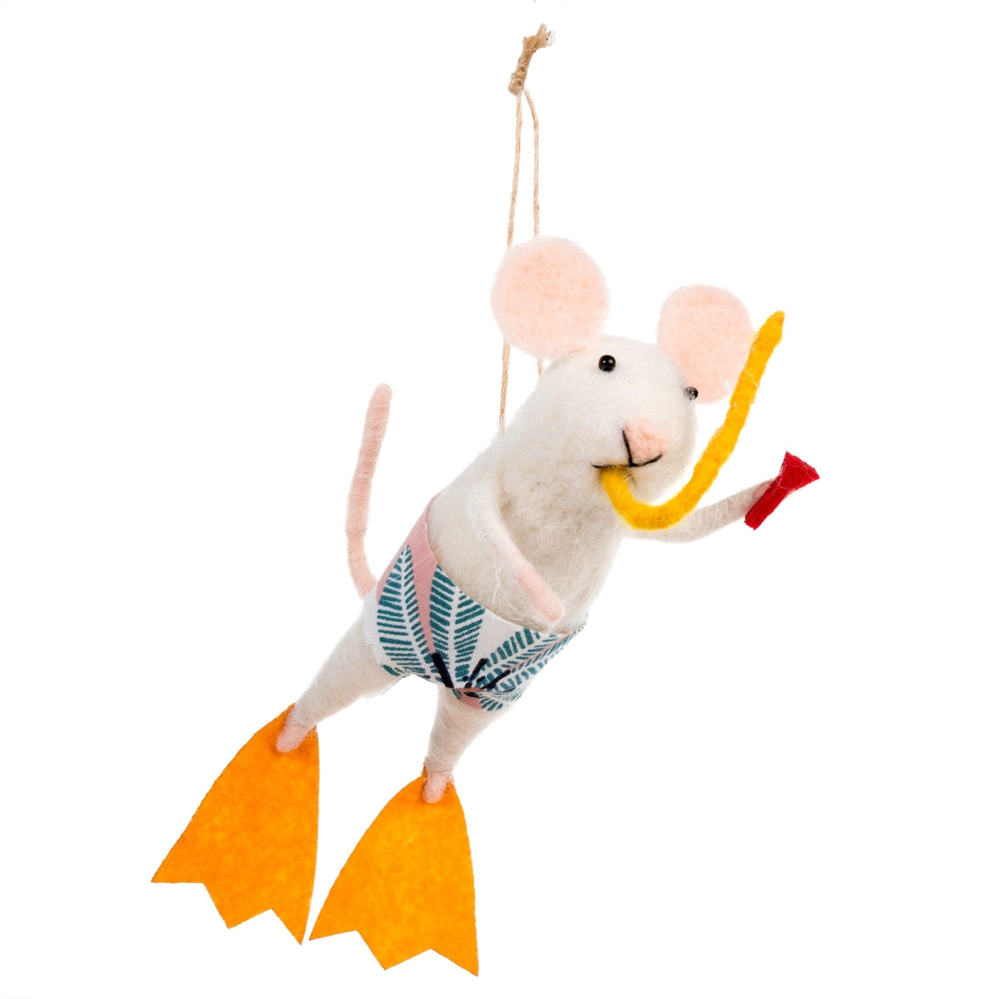 """Scuba Steve"" Felted Mouse Ornament  