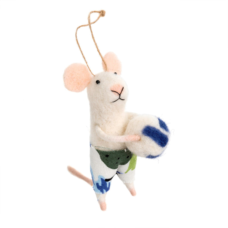 """Volleyball Vince"" Felted Mouse Ornament"