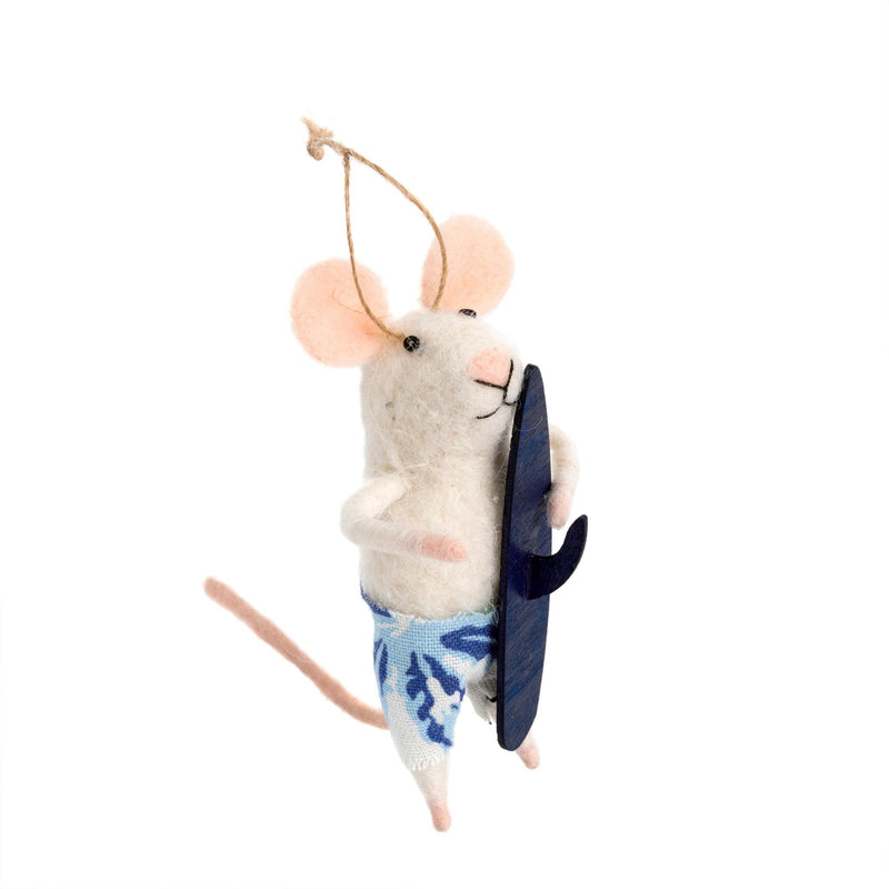 """Surfs Up Sal"" Felted Mouse Ornament"
