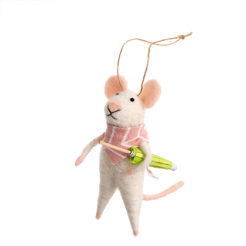 """Bandana Bandit"" Felted Mouse Ornament  