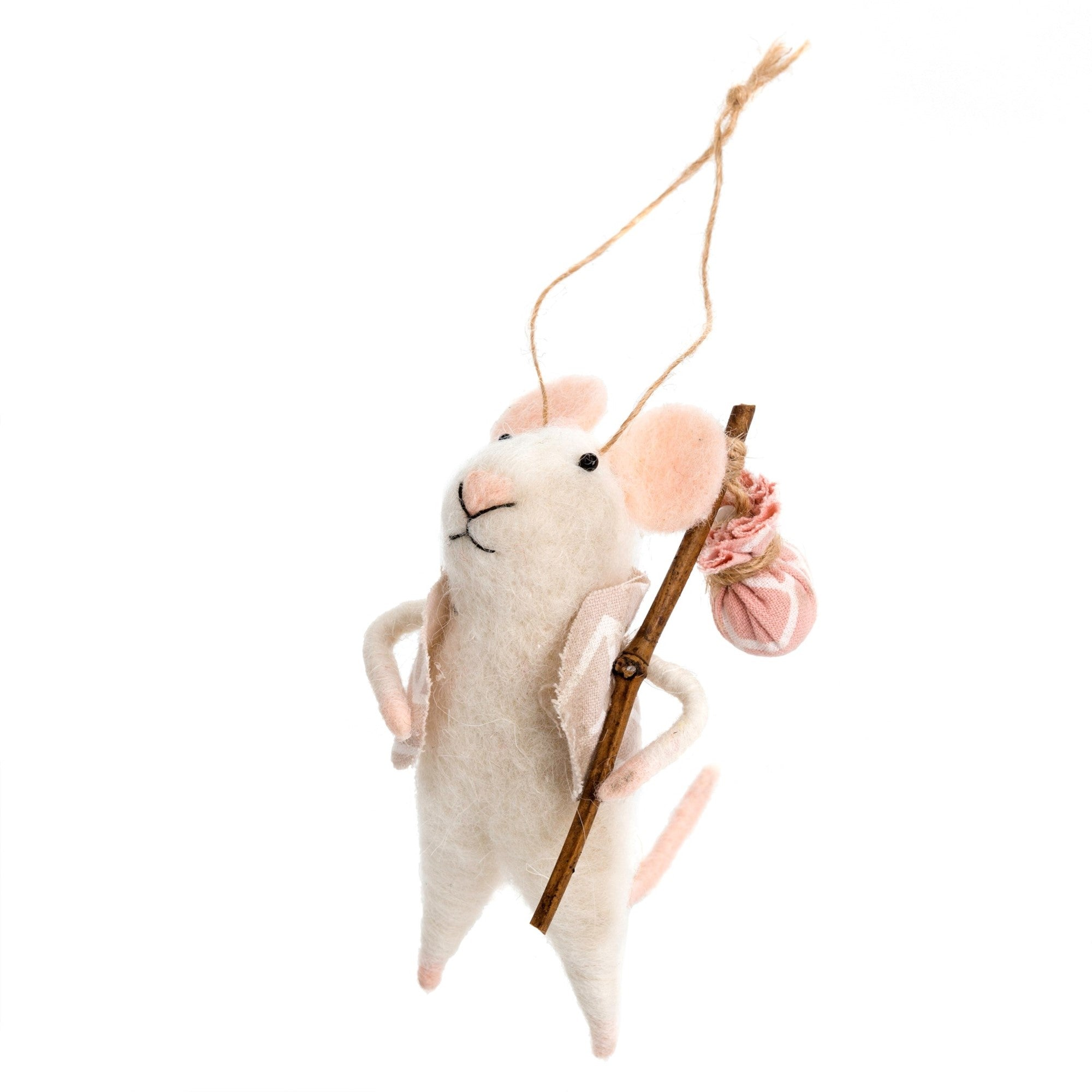 """Nomad Nick"" Felted Mouse Ornament 