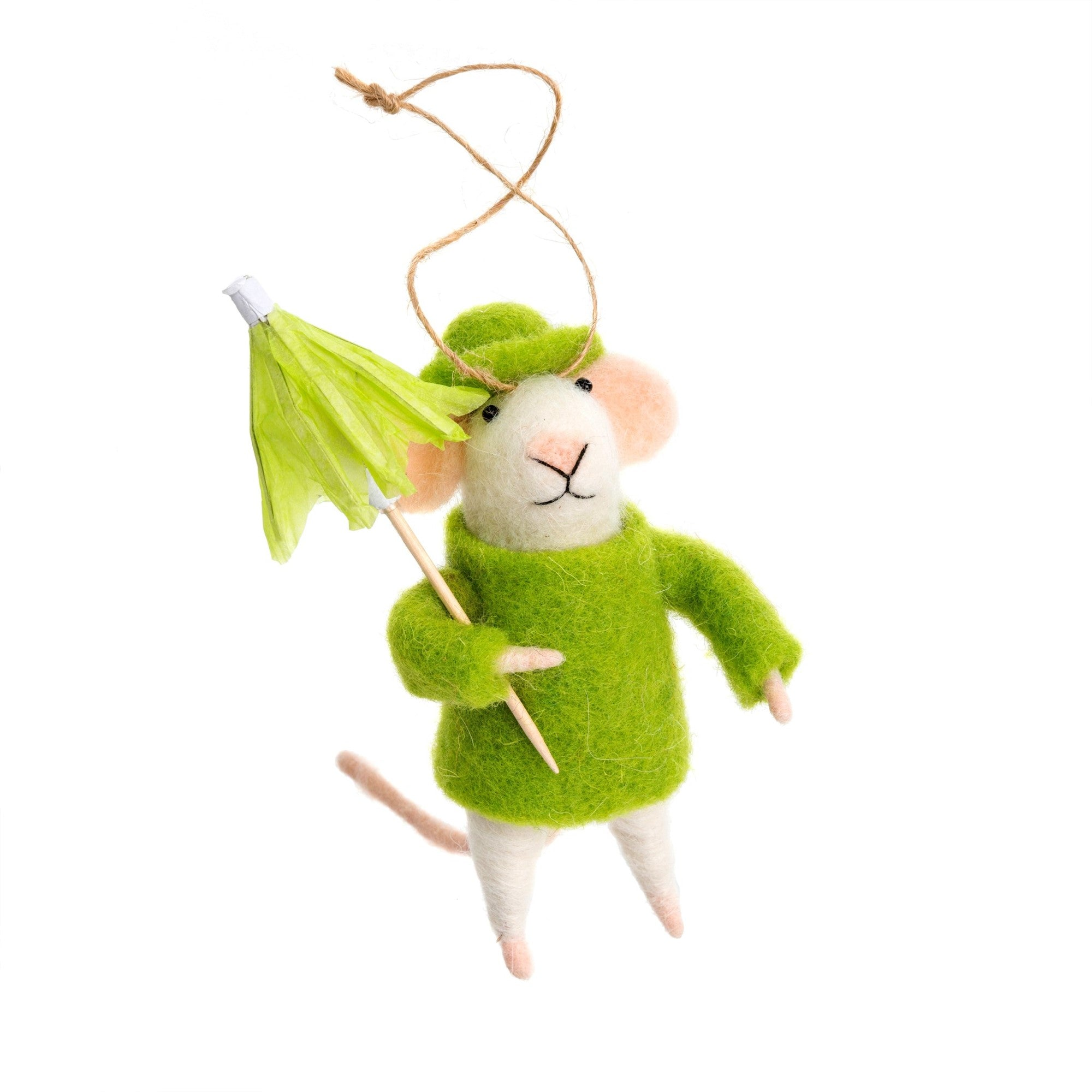 """Rainy Day Roland"" Felted Mouse Ornament  