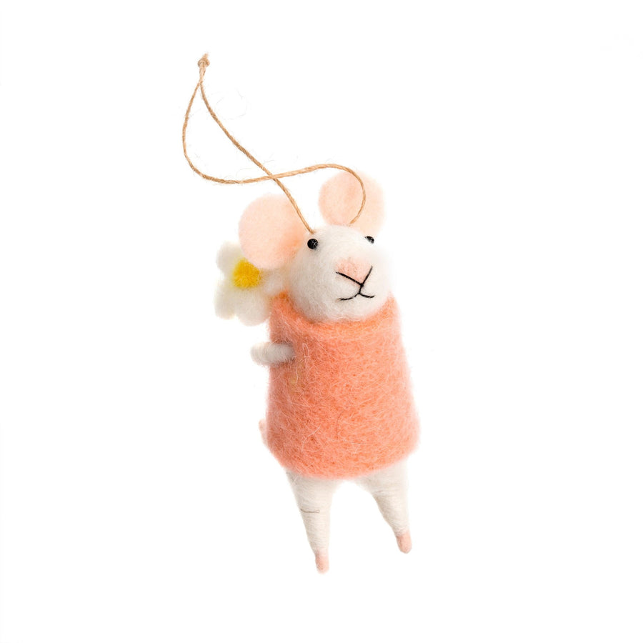 """Elodie"" Felted Mouse Ornament"