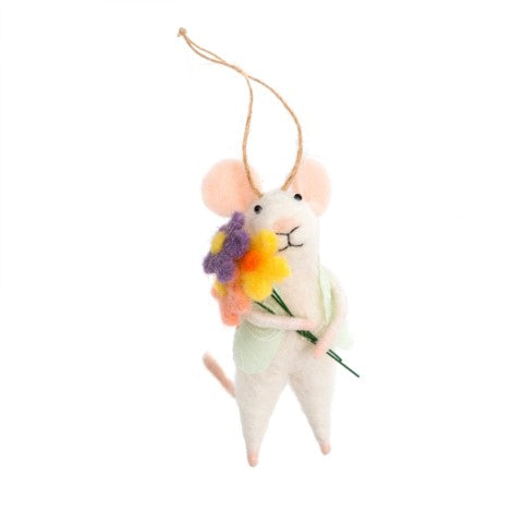 """Bouquet Betty"" Felted Mouse Ornament"