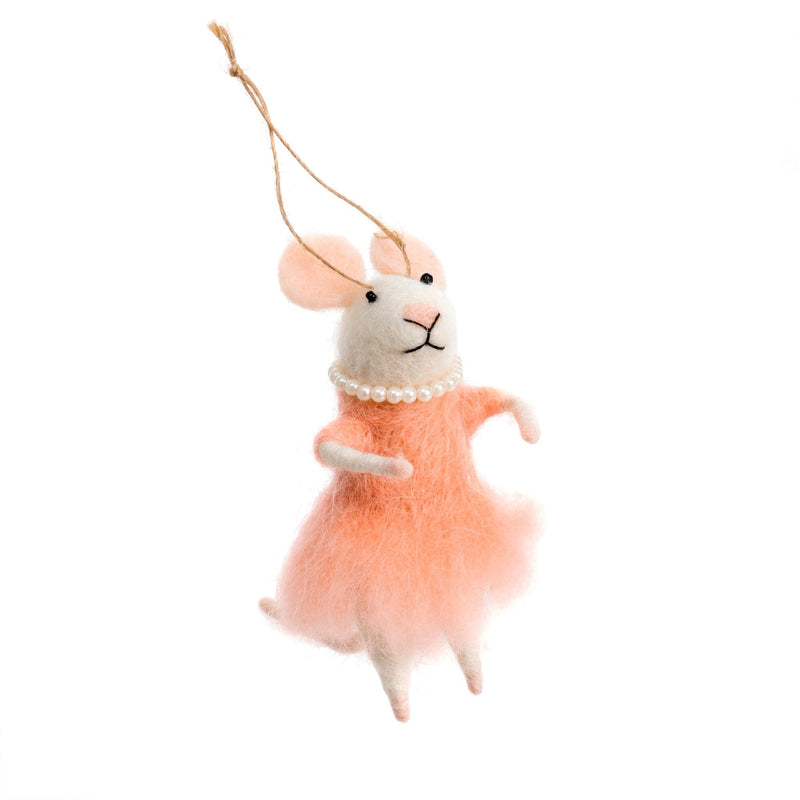 """Mademoiselle Mouse "" Felted Mouse Ornament, IT-Indaba Trading, Putti Fine Furnishings"