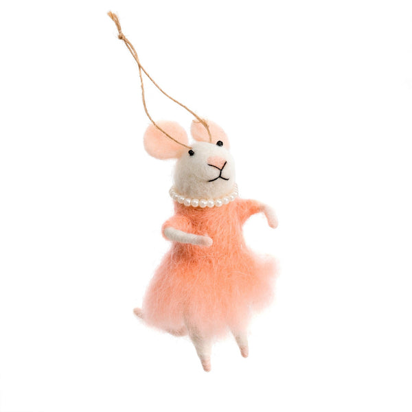 """Mademoiselle Mouse "" Felted Mouse Ornament"