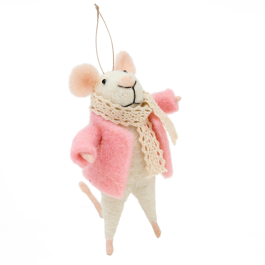 """Sally Squeaks"" Felted Mouse Ornament"