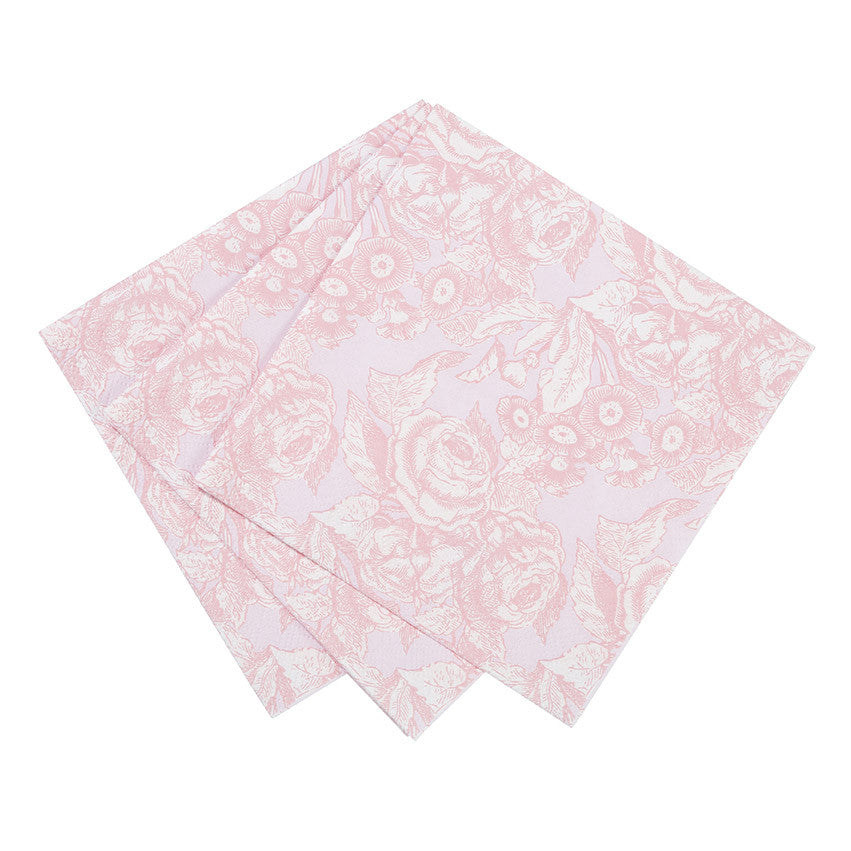 Party Porcelain Rose Embossed Paper Napkins - Small