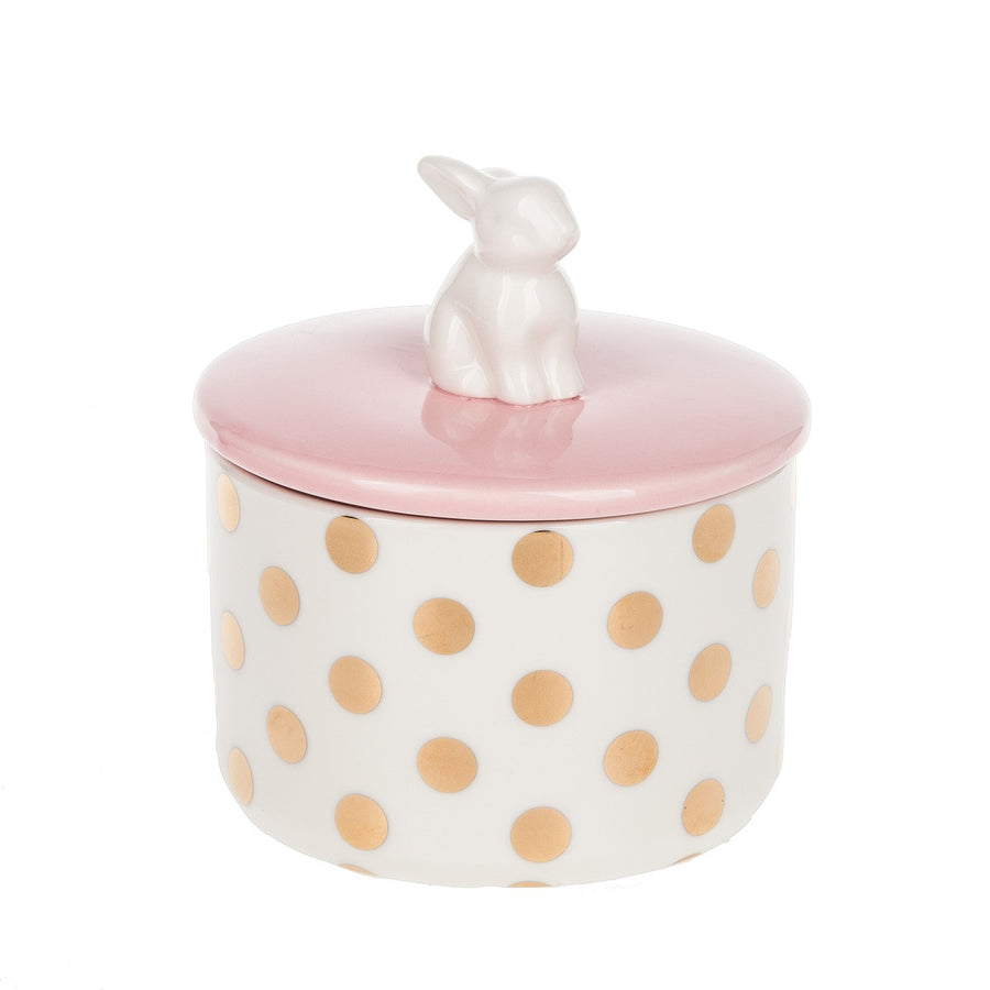 Bunny Handled Lidded Jar - Pink, MW-Midwest / CBK, Putti Fine Furnishings