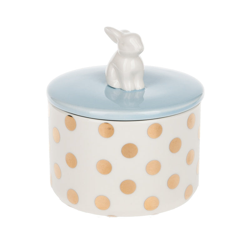 Bunny Handled Lidded Jar - Blue, MW-Midwest / CBK, Putti Fine Furnishings