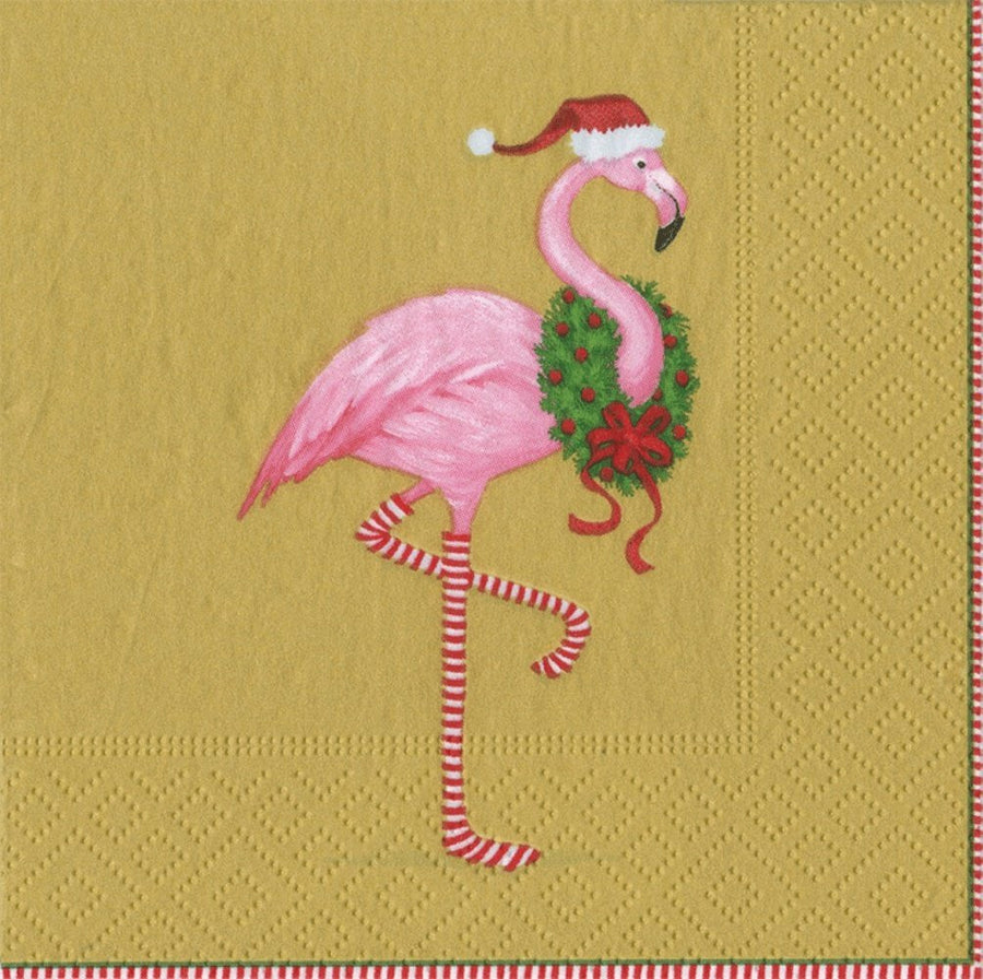 """Christmas Flamingo""  Gold Paper Napkin Box - Cocktail, CI-Caspari, Putti Fine Furnishings"
