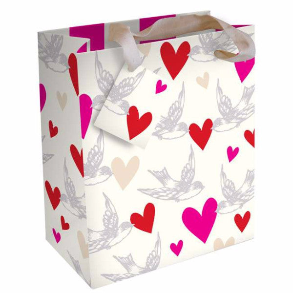 Hearts and Swallows Gift Bag, Pierre Belvedere, Putti Fine Furnishings