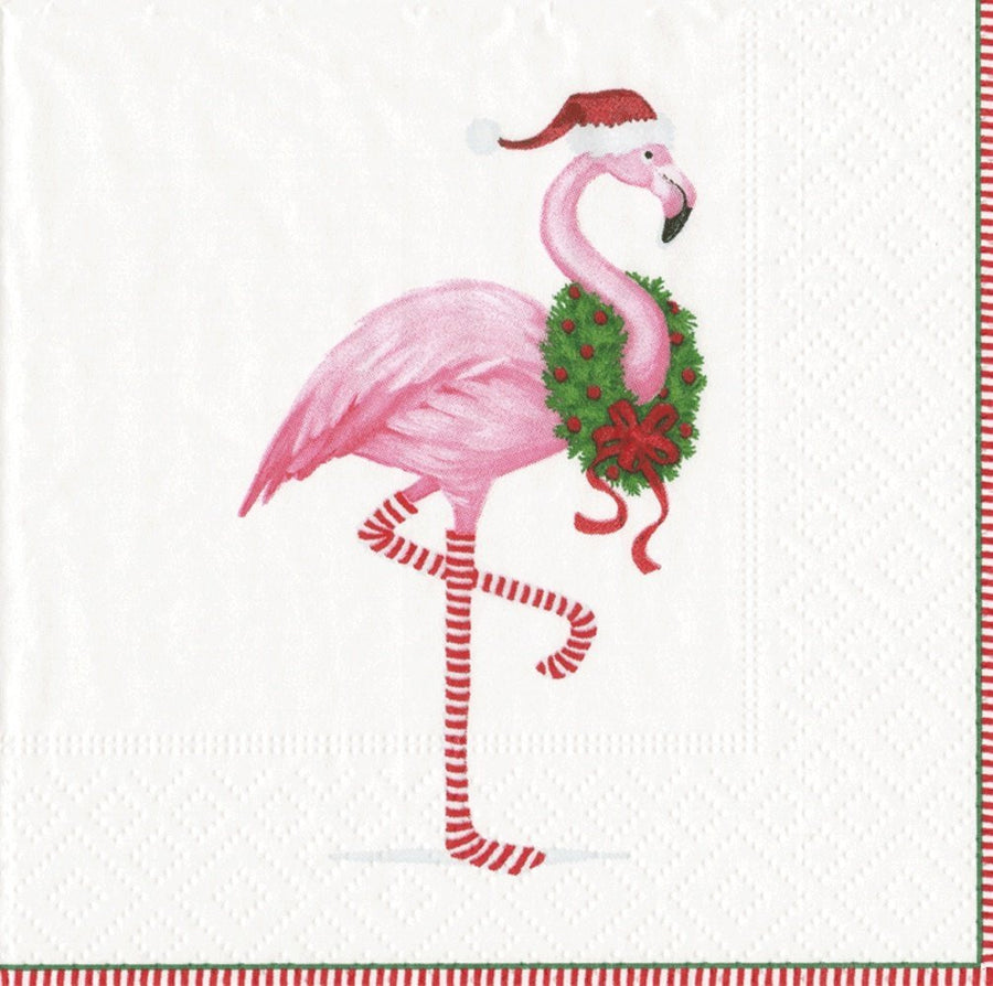 """Christmas Flamingo"" Paper Napkin - Cocktail, CI-Caspari, Putti Fine Furnishings"
